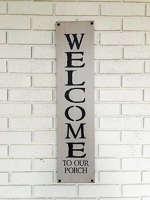 """Large Rustic Wood Sign - """"Welcome To Our Porch"""" - Fixer Upper, Summer, Gray"""