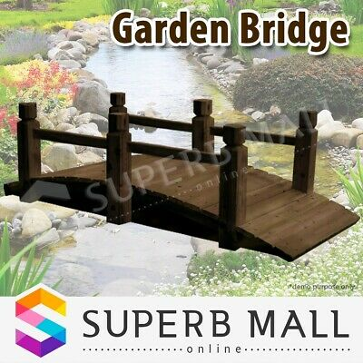 Wooden Garden Outdoor Decor Bridge Feature Decoration 160cm Rustic Design Timber