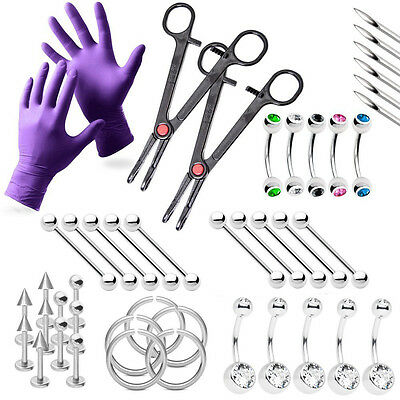 43-Piece Professional Piercing Kit - Lip, Belly, Eyebrow, Tongue, Ear + Tools