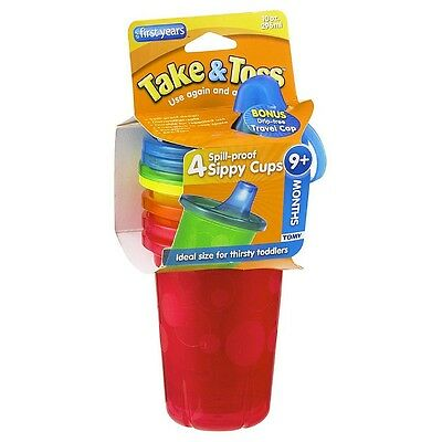 The First Years Take - Toss Spill-Proof Cups 10-Ounce, Assorted Colors 4 ea