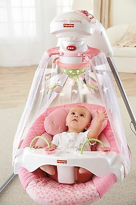 Baby Cradle Swing Pink Infant Rocker Newborn Chair Portable Mobile Butterfly New