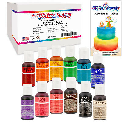 12 Color Cake Food Coloring Liqua-Gel Primary Set .75 fl. Oz. (20ml) Bottles
