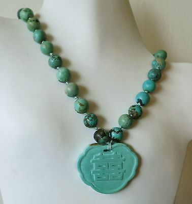 ANTIQUE VINTAGE CHINESE CARVED NATURAL TURQUOISE PENDANT NECKLACE 104gm 19""