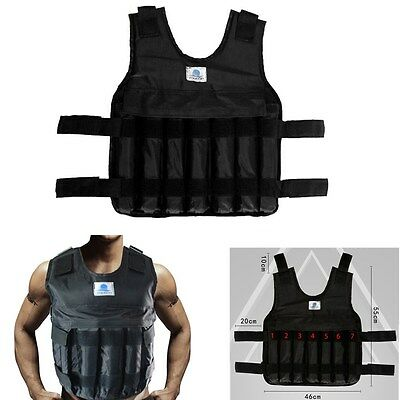 Adjustable 44lbs/20kg Weighted Vest Mens Cool Strength Training Fitness Jacket