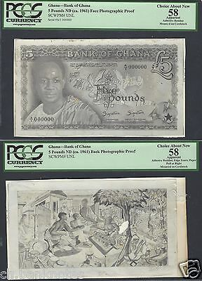 Ghana 5 Pounds ND(ca1961) Pick Unlisted Face and back Photographic Proof