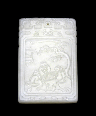 Vintage Large Carved Chinese Figures Inscribed White Jade Hanging Plaque Pendant