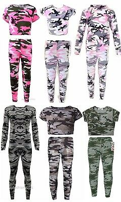 NEW Girls Pink Camo Camouflage Army Tracksuit Crop Top Leggings Jacket Age 2-13