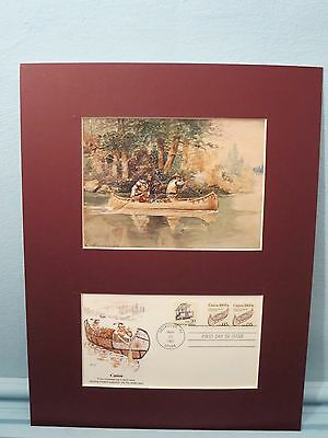 "Charles Russell hunting painting - ""Caught Napping"" & Canoe First Day Cover"