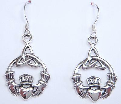 Silver Drop Earrings 4 grams 925 Triquetra Celtic Knot & Claddagh