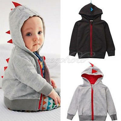 Fashion Baby Boys Cute Dinosaur Hooded Long sleevesTops Jacket Coats Sweatshirts