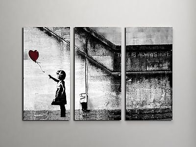 """Banksy Girl With Balloon Stretched Canvas Triptych Print 48""""x30"""". BONUS DECAL!"""