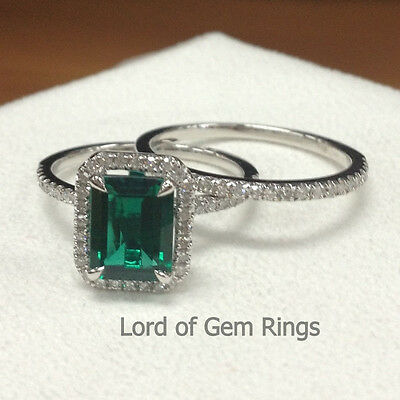 2 Ring Sets! Green Emerald and Diamonds Wedding Engagement Band,14K White Gold