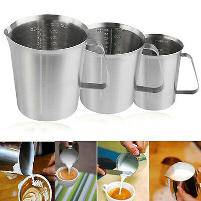 New Stainless Steel Graduated Glass Liquid Measuring Cups