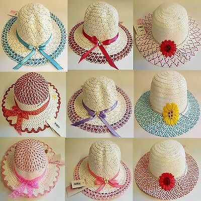 Girls Crushable Straw Wide Brim Sun Hat With Flowers Sizes 52Cm 54Cm 56Cm