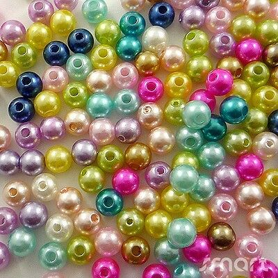 100pcs Mixed Pastel Colours Acrylic Pearl Round Beads Jewelry Making Craft 8MM