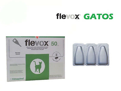 3 pipetas FLEVOX 0,50 ml anti pulgas y garrapatas para gatos.