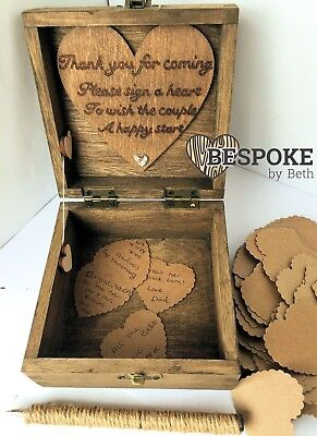 Personalised Wood Wedding Guest Book Box 12cm 100 Card Hearts Keepsake Mr & Mrs