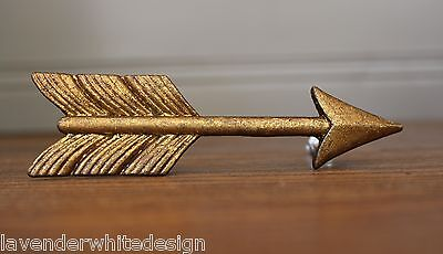 Industrial Finish Gold Pewter Drawer Knob/ Handle Arrow Design - Furniture