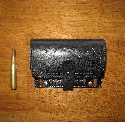 Real Leather Rifle Ammo Shell Cartridge Belt Holder - Holds 6 rounds