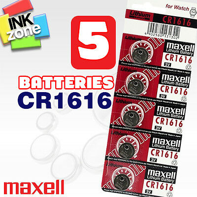 5 x MAXELL CR1616 DL1616 BR1616 Lithium Coin Batteries for Watches (3V 55mAh)