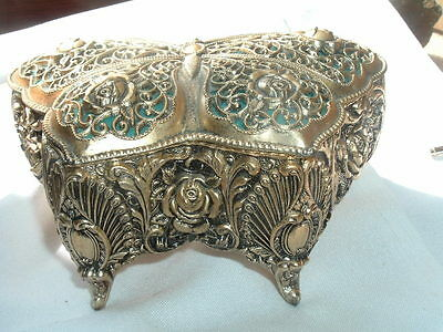 Vintage Ormolu Butterfly and Roses Musical Jewelry Box