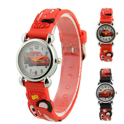 Cute Cartoon 3D Car Quartz Child Kids Wrist Watch Band Strap Birthday Gift