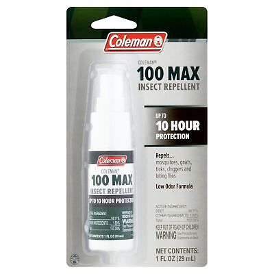 Coleman 100 Max 100% Deet Insect Repellent 1oz Pump Spray for Bugs Mosquitoes