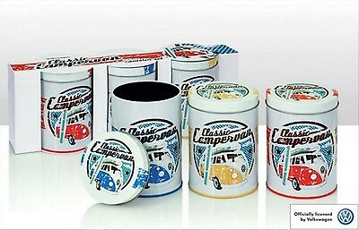 Officially Licensed Volkswagen Set of 3 Canisters. VW Classic Campervan design.