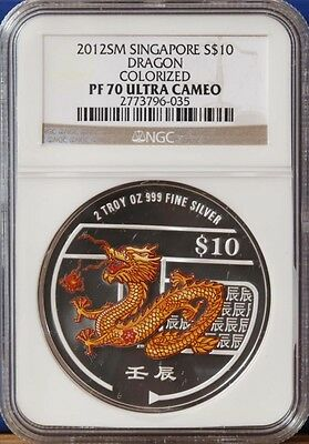2012 Singapore Silver $10 Color Dragon Coin NGC PF70