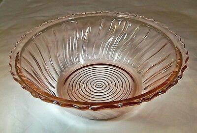 "Jeannette Glass Co. Swirl Pink 9-3/8"" Diameter Rimmed Salad Serving Bowl!"