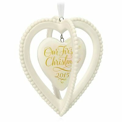 Hallmark Our First Christmas Together 2015 Porcelain Two Heart Ornament NIB