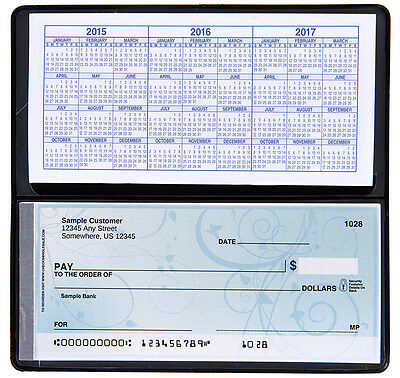 Checkbook Cover Vinyl Black With Duplicate Flap Side Tear  Brand New