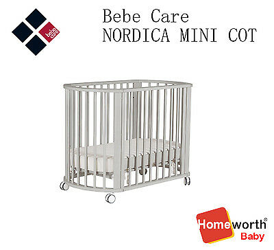 NEW bebe care NORDICA MINI COT Grey Wash cot baby bed crib mattress