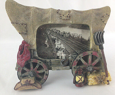 Vintage Western Cowboy Country Covered Wagon Shaped Picture Photo Frame - Resin