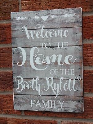 Rustic Welcome to our home personalised wooden hanging sign our family plaque
