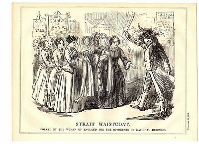 SUFFRAGETTE WOMEN England NATIONAL DEFENCES Punch Political 1853 HUMOROUS Print