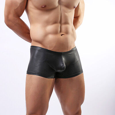 Mens Black Faux Leather Boxer Shorts-   Gay/Straight - new - all sizes - C2