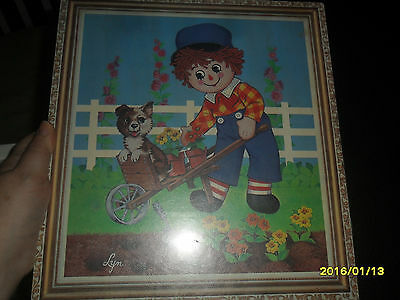 Vintage 1960s 1970 Raggedy Andy Heavy Portrait Picture Wood Plastic w Puppy Dog