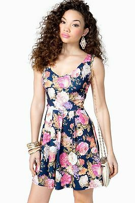 732e5fb65b Navy Mauve Dusty Rose Pink Floral V Neck Pleated Skater Fit and Flare Dress  M