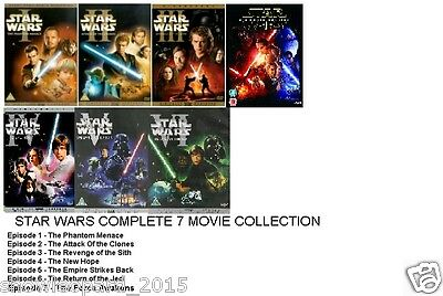 STAR WARS COMPLETE COLLECTION EPISODE 1 2 3 4 5 6 7 FORCE AWAKENS Movie Film DVD