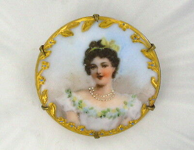 Antique  Victorian Cameo - Hand Painted On Porcelain