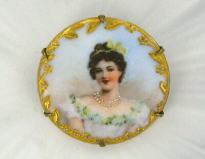 Vintage Antique Victorian Cameo - Hand Painted On Porcelain Brooch Pin