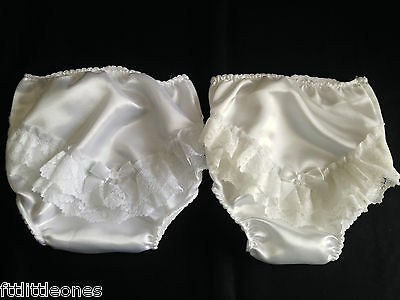 Little Baby Girls Lace Bow Satin Frilly Knickers/pants Christening/wedding/party