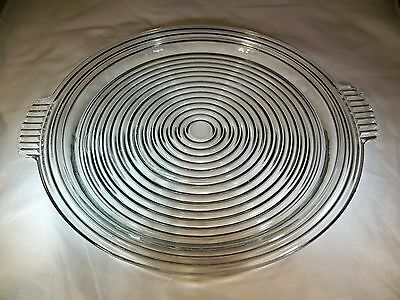 "Anchor Hocking Glass Co. Manhattan Crystal 14"" Diameter Handled Sandwich Plate!"