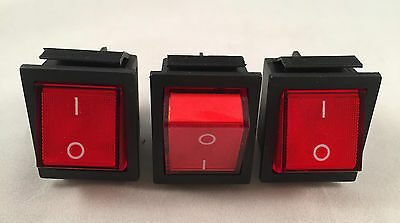 3 x Pcs Switch Button 4 Pin DPST ON/OFF Illuminated Rocker AC 250V 15/20A Car
