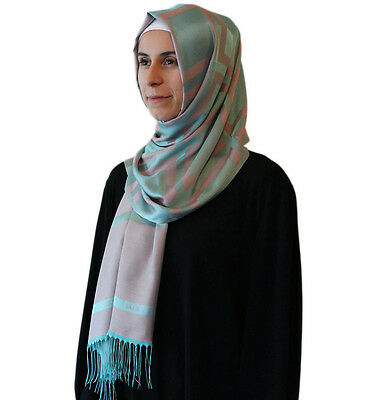 Aker Plaid Turkish Shawl Islamic Hijab Headscarf 1020400 951 Grey / Turquoise