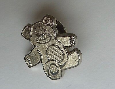 Silver Tone Teddy Bear Pin Lapel Pin