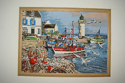 cross stich/needlepoint completed framed tug boats lighthouse nautical decor bay