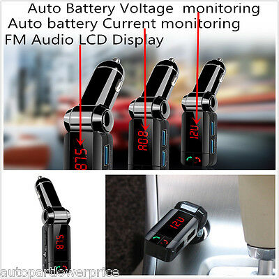 Bluetooth FM Transmitter Wireless Charger MP3 Player Receiver Voltmeter Ammeter