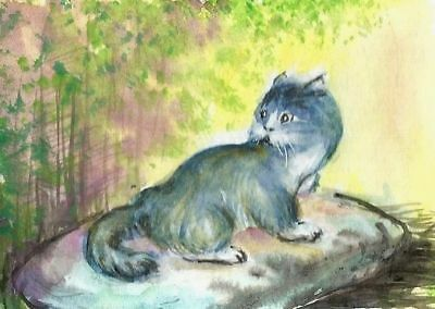 ACEO Original art card Cat pets kitty landscape animals painting artist signed
